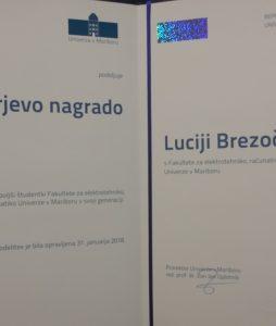 Lucija Brezočnik prejela Rektorjevo nagrado