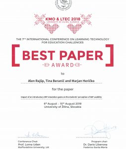 Best paper award on LTEC 2018 conference