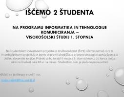 Priložnost za študentsko delo na projektu ŠPIK